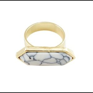 Modern White Marble Stone Ring